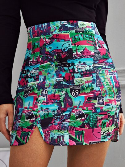 Graphic Print Split Hem Mini Skirt