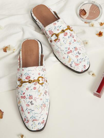 Floral Graphic Loafers Mules
