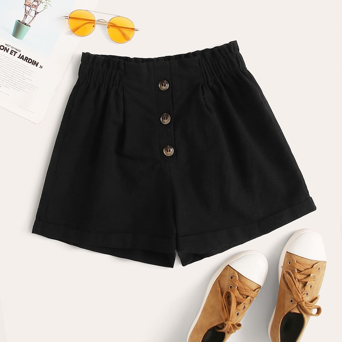 Shorts mit Knöpfen vorn und Papiertasche Taille