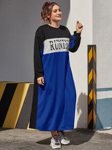 plus colorblock letter graphic sweatshirt dress