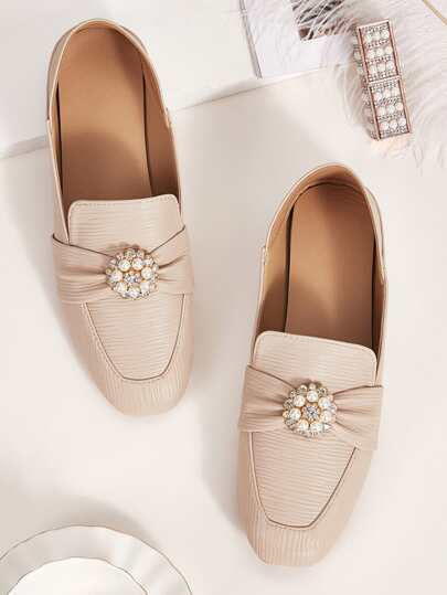 Rhinestone & Faux Pearl Decor Square Toe Flats