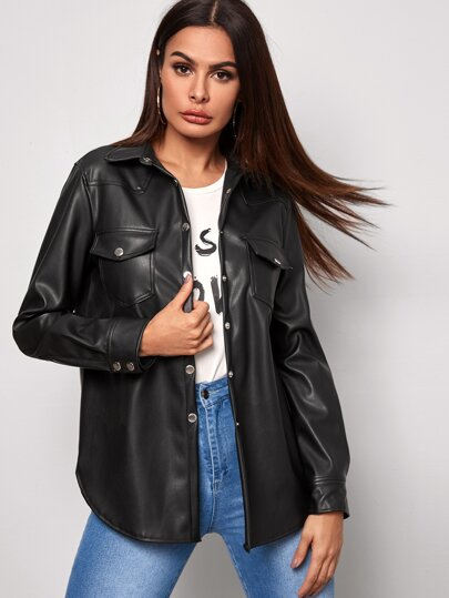 Double Pocket Button Front Faux Leather Coat