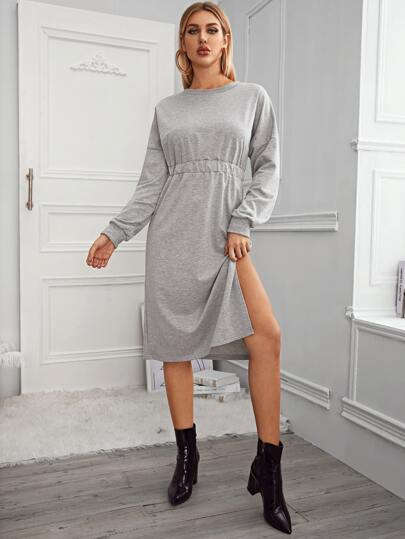 Drop Shoulder Split Thigh Sweatshirt Dress