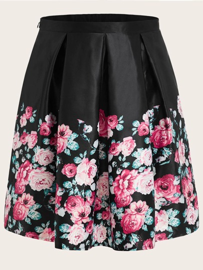 Plus Floral Print Flared Skirt