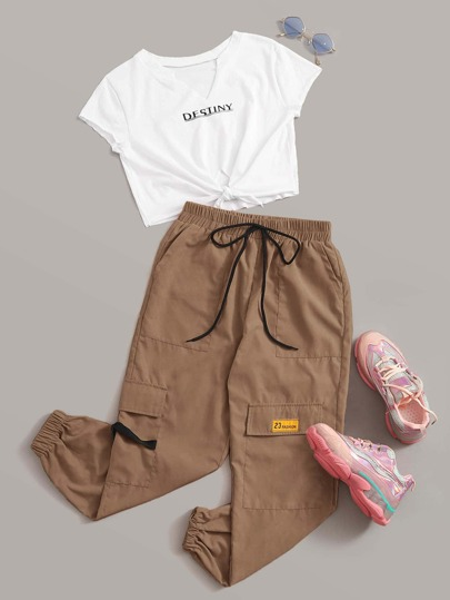 Letter Graphic Tee With Drawstring Waist Cargo Pants