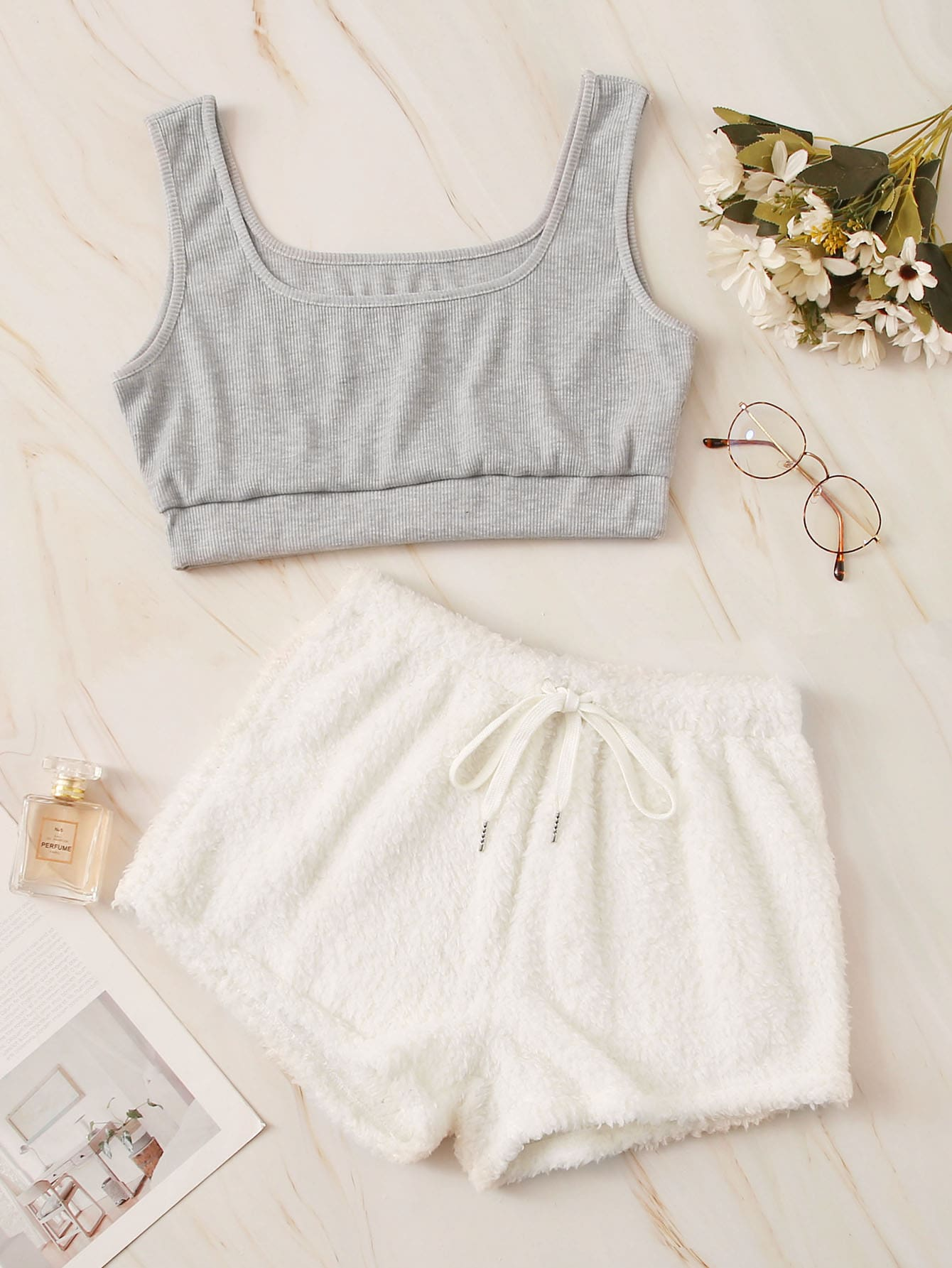 Two Tone Top With Tie Front Shorts PJ Set thumbnail