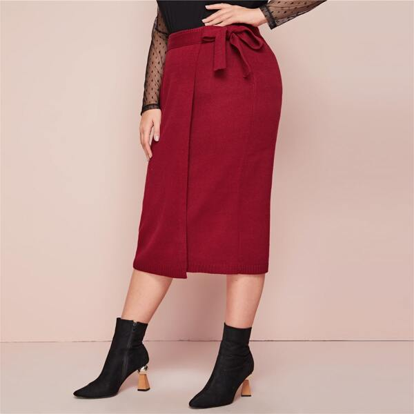 Plus Self Belted Wrap Sweater Skirt, Red