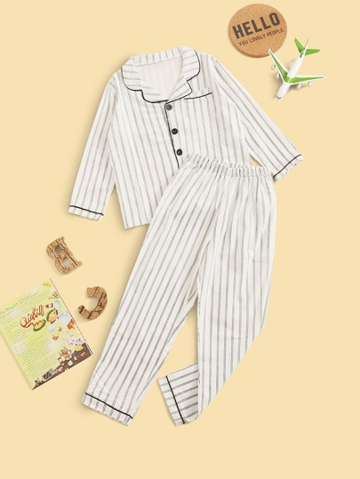 Boys Striped Button-up PJ Set