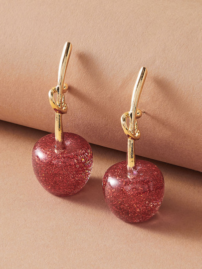 1pair Knot Design Cherry Shaped Earrings