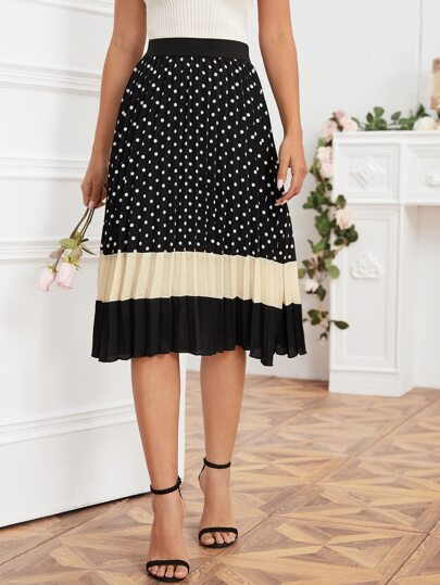Color-block Polka Dot Midi Pleated Skirt