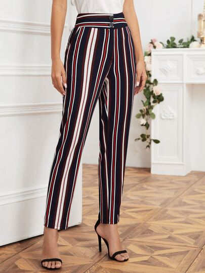 Vertical Striped Button Fly Tailored Pants