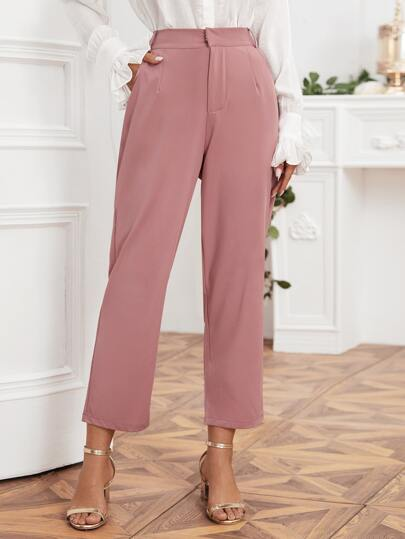 Slant Pockets Solid Tailored Pants