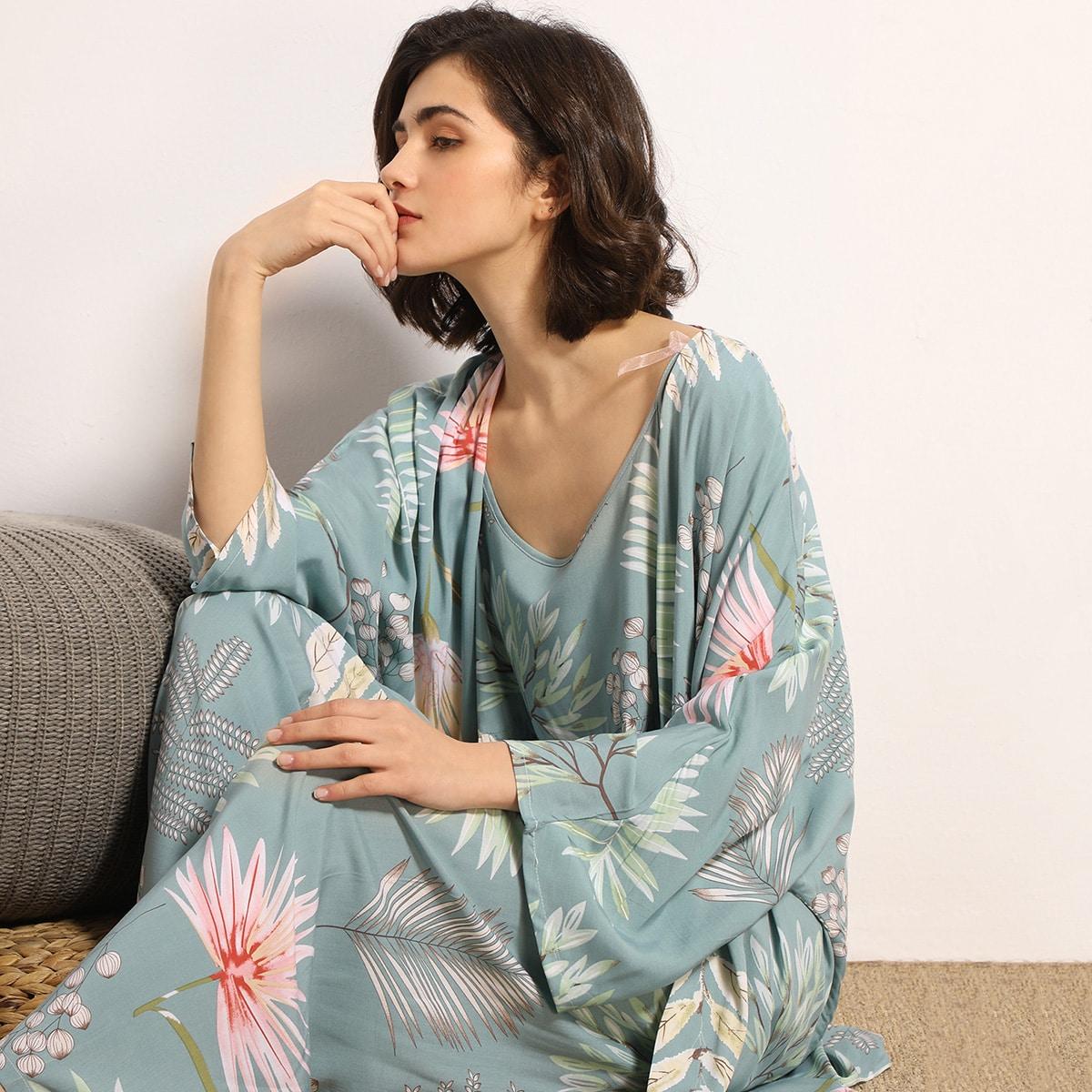 Халат и пижама с цветочным принтом 3 пакет