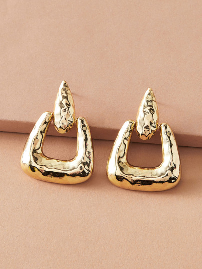 1pair Textured Geometric Shaped Earrings