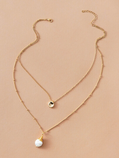 1pc Pearl & Coin Charm Layered Necklace