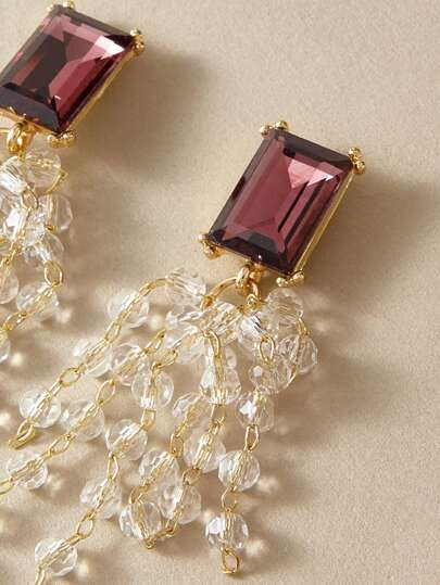 1pair Gemstone Decor Crystal Tassel Drop Earrings