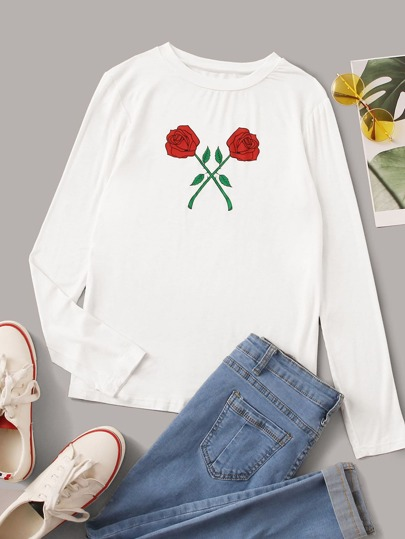 Floral Graphic Round Neck Tee