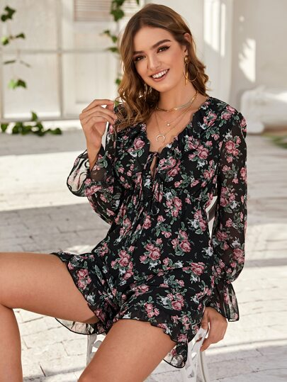 Plunging Tie Front Floral Chiffon Romper