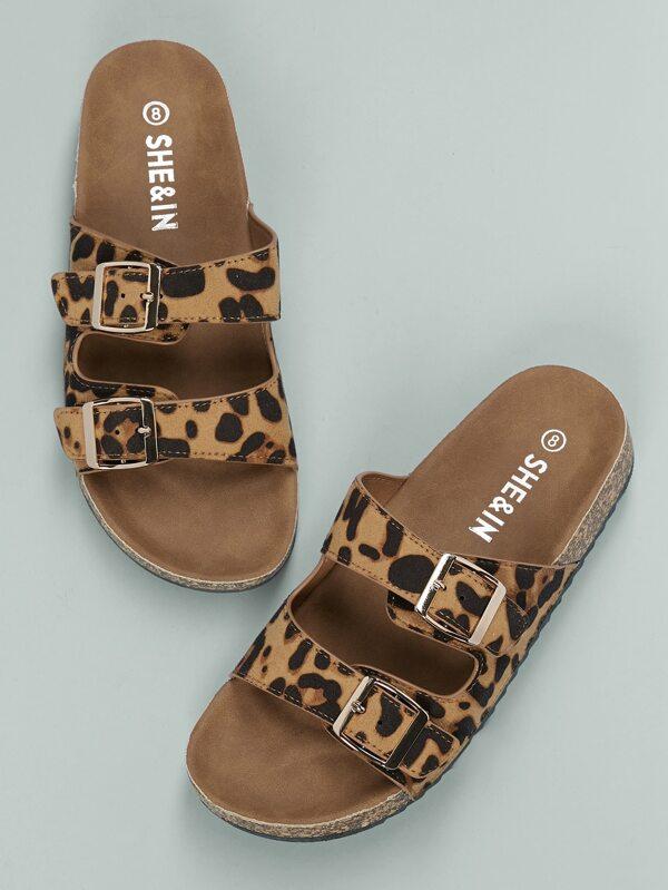 Twin Buckles Cork Footbed Leopard Slides