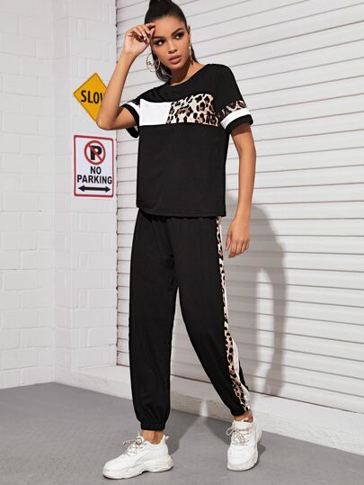 Leopard Panel Colo-Block Tee & Sweatpants