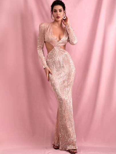 LOVE&LEMONADE Plunging Neck Cut-out Sequin Bodycon Prom Dress