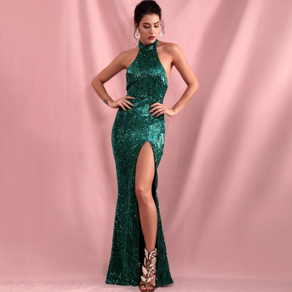 блестящее платье-халтер с разрезом и открытой спиной