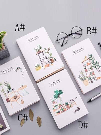 1pack Plant Print Cover Notebook