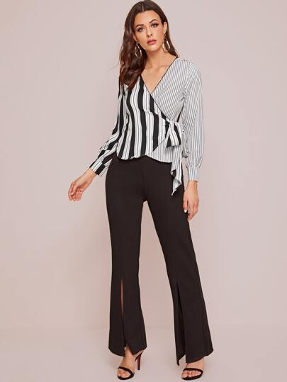 Striped Knot Side Wrap Blouse