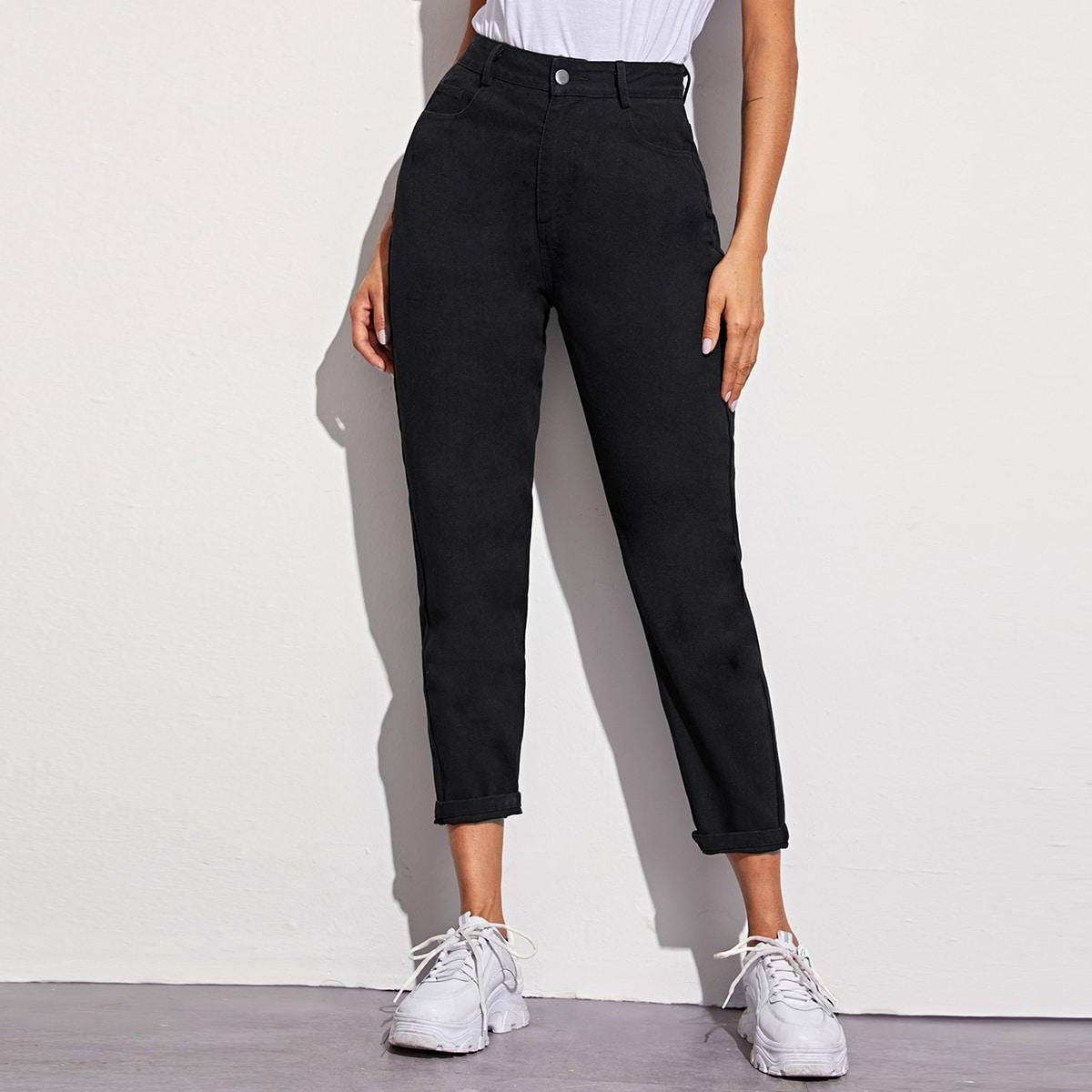 Однотонные короткие джинсы с высокой талией