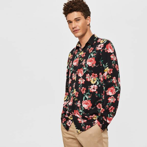Men Curved Hem Floral Print Shirt, Multicolor