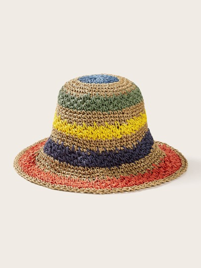 Colorful Patched Woven Bucket Hat