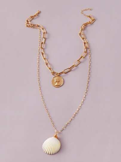 1pc Shell & Coin Charm Layered Necklace