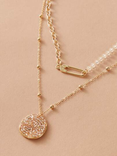 1pc Crystal & Safety Pin Charm Layered Necklace