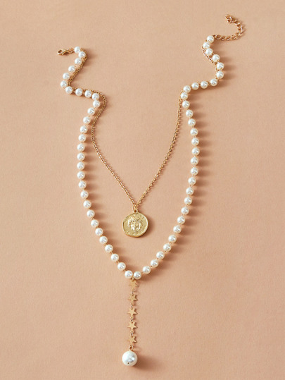 1pc Coin Charm Faux Pearl Beaded Layered Necklace