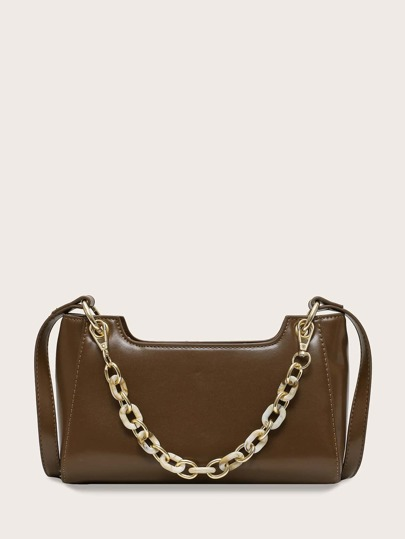 Structured Chain Satchel Bag