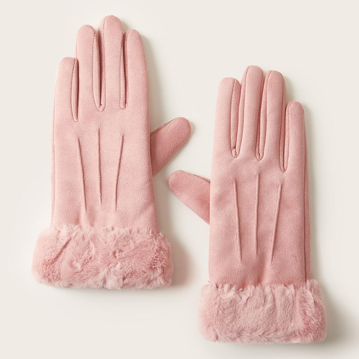 Замшевые перчатки с пушистой отделкой 1 пара