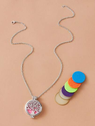 1pc Tree Charm Necklace With 7pcs Replaceable Core