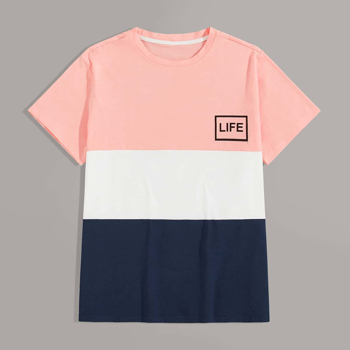 Men Cut And Sew Letter Graphic Tee