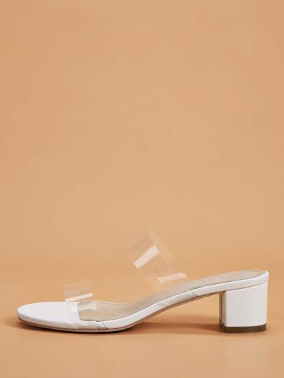 Clear Strap Chunky Heeled Mules