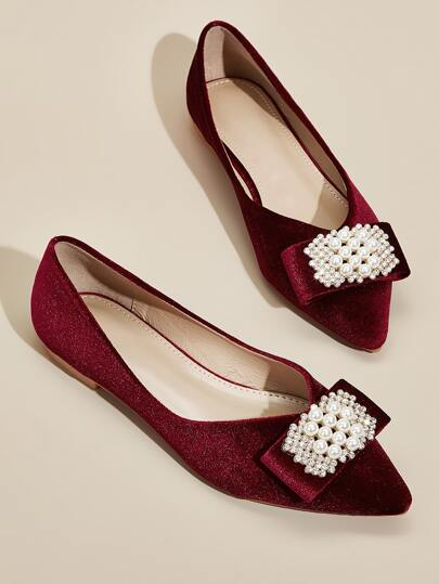 Point Toe Faux Pearl Decor Flats