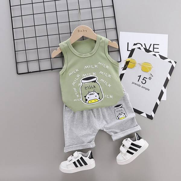 Toddler Boys Letter And Cartoon Graphic Tank Top & Shorts, Multicolor