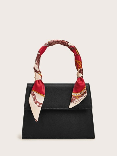 Twilly Scarf Decor Flap Satchel Bag