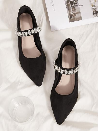 Rhinestone Decor Point Toe Suede Flats