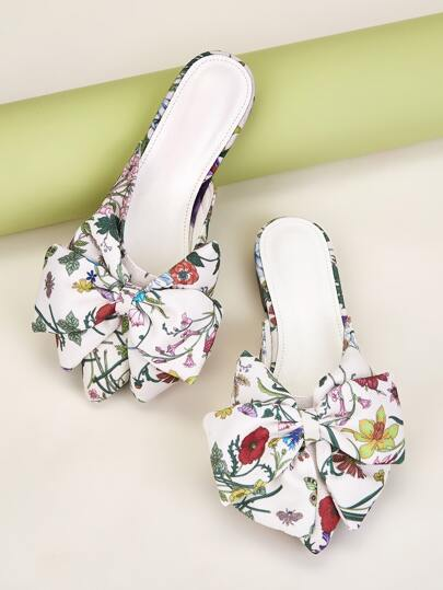 Floral Graphic Bow Decor Flat Mules