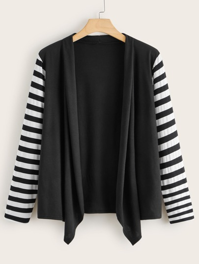 Plus Contrast Striped Sleeve Asymmetrical Coat