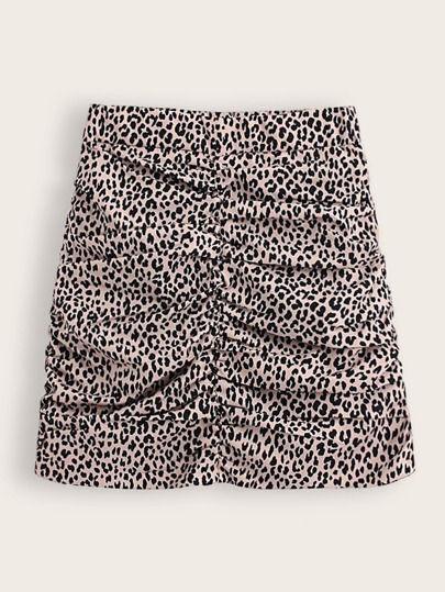 Leopard Print Ruched Front Skirt