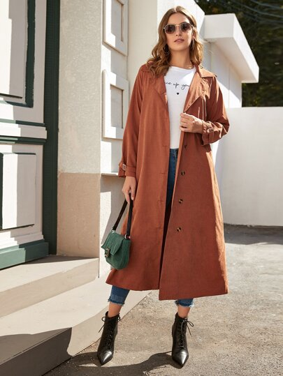Solid Button Through Longline Trench Coat