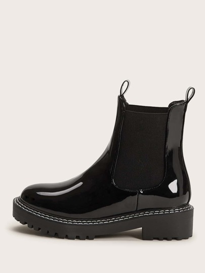 Patent Wide Fit Chelsea Boots
