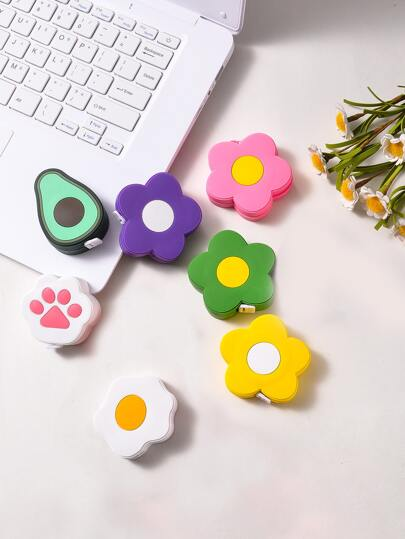 1pc Cute Flower Shaped Retractable Measuring Tape