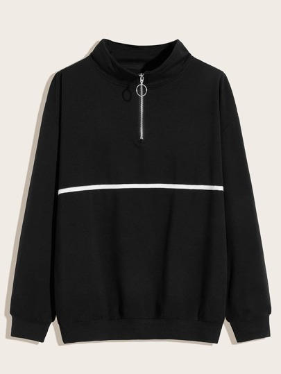 Men Half Placket O-Ring Zip Sweatshirt